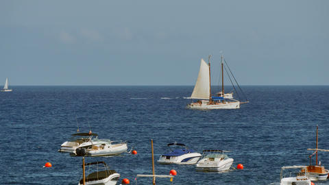 Sailboat Sailing in Crystal Clear Waters Footage