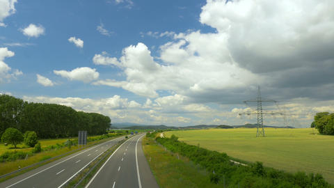 Time lapse of highway in sunny landscape. Transport in Germany, Europe Footage