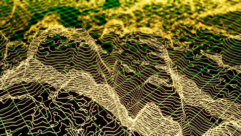 Modern 3d wireframe with techno landscape for computer wallpaper design Live Action