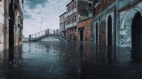 Empty Venice street and stone bridge during flood Acqua Alta Live Action