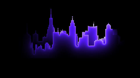 Abstract bright neon city silhouette Animation