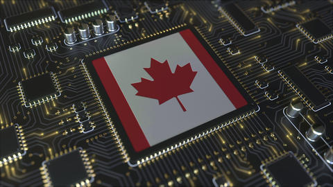 National flag of Canada on the operating chipset. Canadian information Live Action
