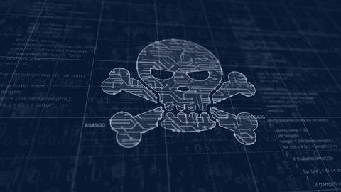 Cyber crime with skull symbol futuristic sketch Animation