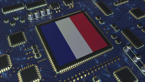 National flag of France on the operating chipset. French information technology Live Action