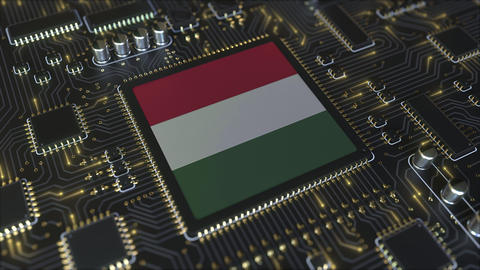 National flag of Hungary on the operating chipset. Hungarian information Live Action