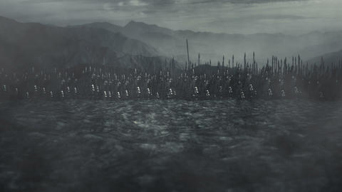 Elves Army Standing in a Battlefield Ready for Battle Live Action