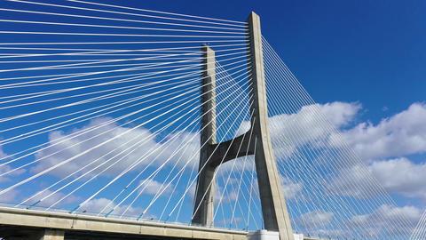 Vasco da Gama Bridge in Lisbon is a famous landmark in the city Live Action