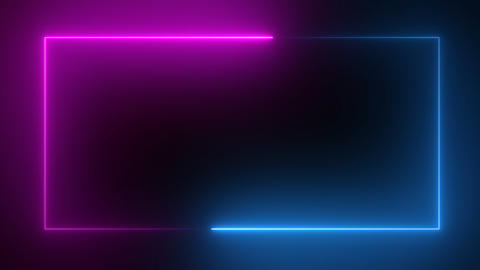 3D rendering of an abstract bright neon rectangular frame