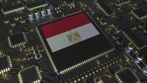National flag of Egypt on the operating chipset. Egyptian information technology Live Action