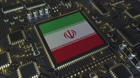 National flag of Iran on the operating chipset. Iranian information technology Live Action