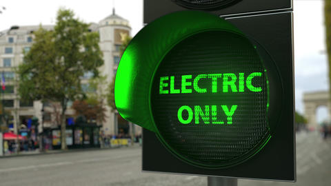 ELECTRIC ONLY text on green traffic light signal. Electric transport related Live Action