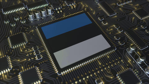 National flag of Estonia on the operating chipset. Estonian information Live Action