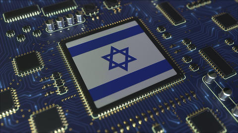 National flag of Israel on the operating chipset. Israeli information technology Live Action