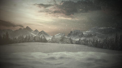 Animated close up mountains and snowing landscape Animation