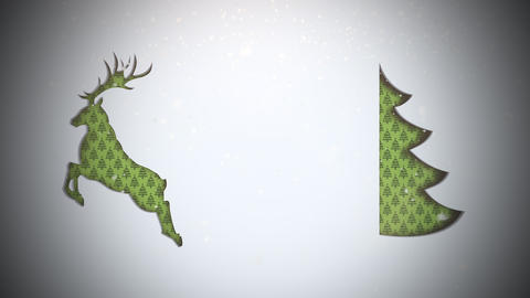 Animated closeup green Christmas tree and deer on snow background Animation