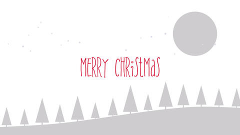 Animated closeup Merry Christmas text, mountains, forest and snowing landscape Animation