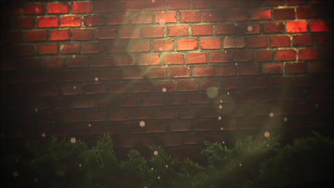 Animated close up abstract bokeh and Christmas green tree branches on bricks background Animation