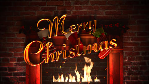 Animated closeup fireplace, gifts in the Christmas socks and Merry Christmas text on bricks Animation