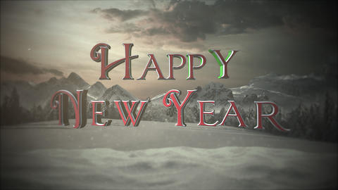 Animated closeup Happy New Year text, mountains and snowing landscape Animation