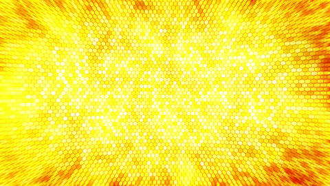 Yellow electric lightning honeycomb background. Glowing electric hexagon with shining light. Animation