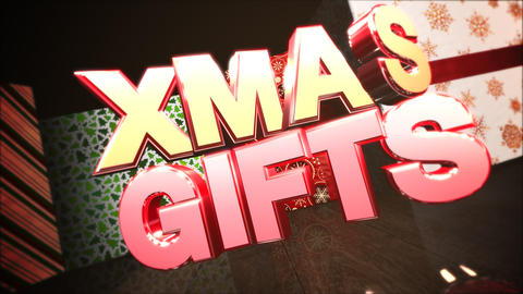 Animated close up Xmas gifts text, gift boxes in room, wood background Animation
