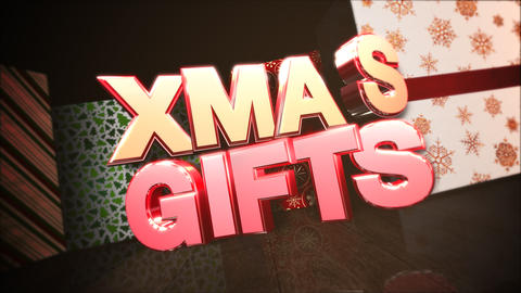 Animated close up Xmas gifts text, gift boxes in room,... Stock Video Footage