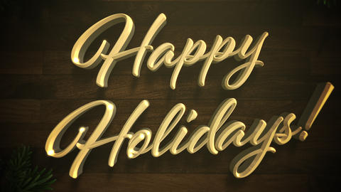 Animated closeup Happy Holidays text, colorful garland and Christmas green tree branches on wood Animation