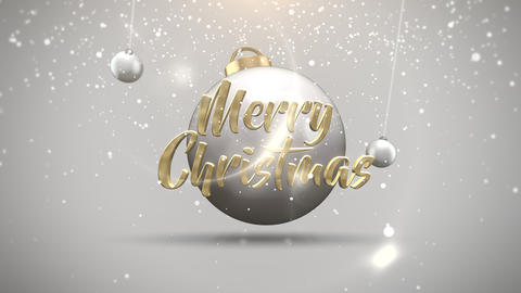 Animated close up Merry Christmas text, motion balls and snowflakes on white background Animation