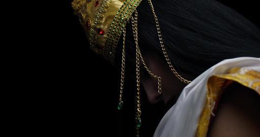 Profile shot of an indian deity Saraswati, wearing white… Stock Video Footage