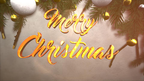 Animated close up Merry Christmas text, white and yellow ball, green Christmas branch on paper Animation