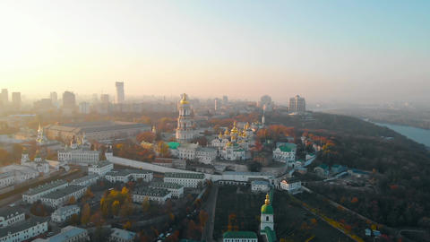 Ancient Christian architecture in modern Kiev city Live Action
