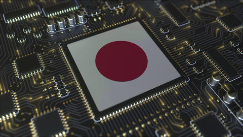 Flag of Japan on the operating chipset. Japanese information technology or Live Action