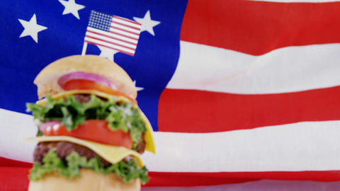 Hamburger with 4th july theme Live Action