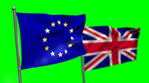 Union flag and European flag waving against green screen Live Action