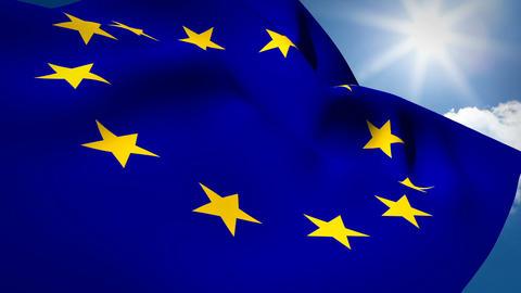 European flag waving against sky on a sunny day Live Action