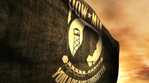 (1096) POW MIA Flag with Sunset 画像
