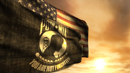 (1097) POW MIA and American Flags with Sunset Stock Video Footage