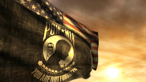 (1097) POW MIA and American Flags with Sunset Animation