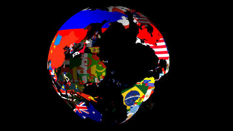 HD Flag Globe (Left to Right) Stock Video Footage