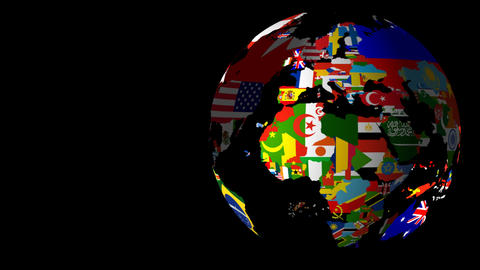 HD Flag Globe (Left to Right) Animation