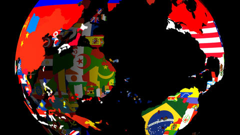 High Definition Loopable Spinning Globe with Countries Flags (Large Center) Matt / Alpha at 10 Secon Animation