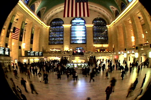 Grand Central Station Fish Eye Shutter XWide 1 Stock Video Footage