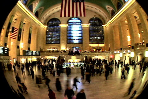 Grand Central Station Fish Eye Shutter Footage
