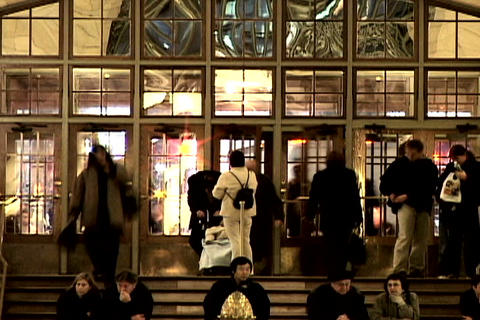 Grand Central Station Shutter Front Door Wide 1 Stock Video Footage