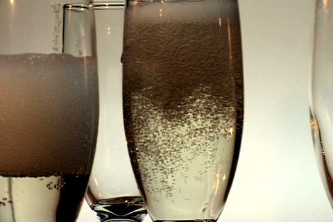 Four Champagne Glasses Spin 1 Footage