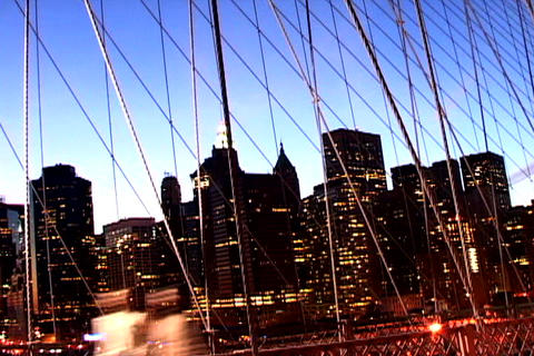 Cityscape from New York Bridge Shutter 1 Stock Video Footage