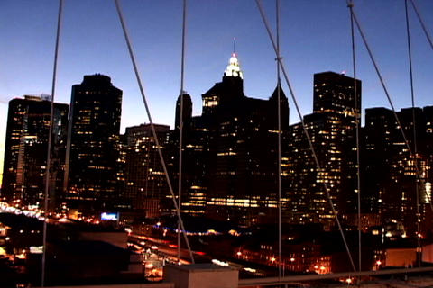 Cityscape from New York Bridge Shutter Stock Video Footage