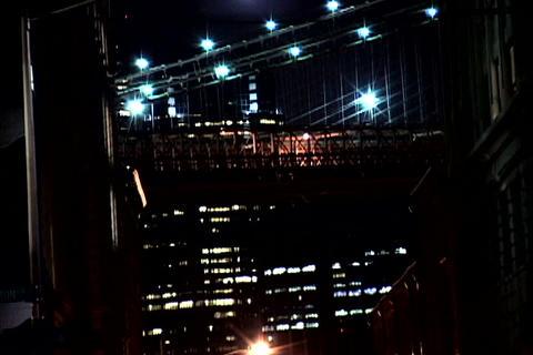 New York Bridge at night 2 Stock Video Footage