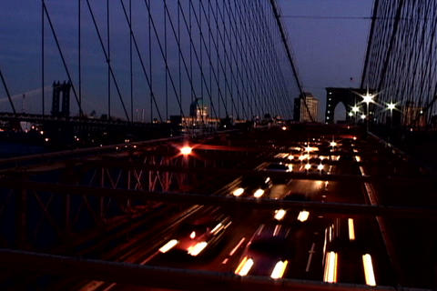 Traffic on New York Bridge Shutter Stock Video Footage