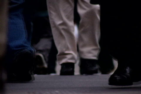 Close up of walking feet at crowded sidewalk 2 Stock Video Footage